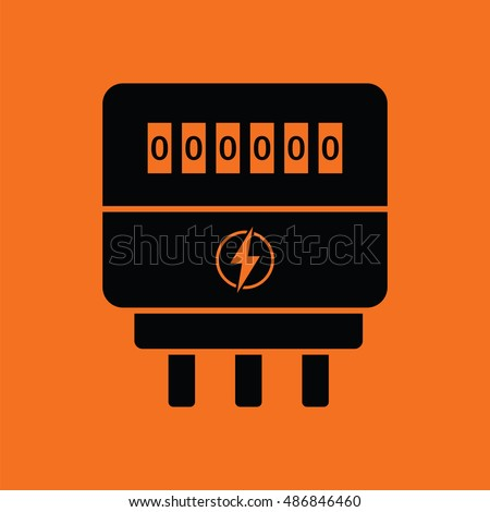 Electric meter icon. Orange background with black. Vector illustration.