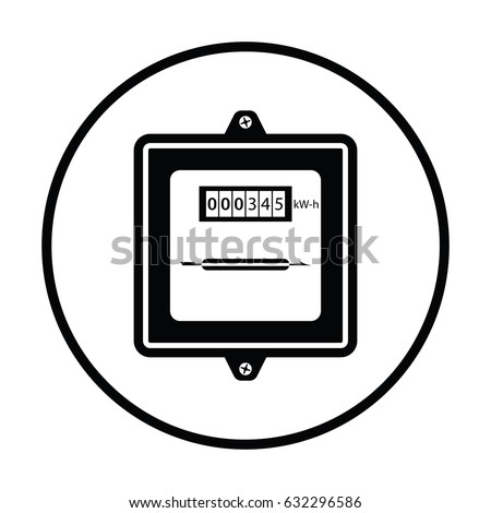 Electric Meter Icon Thin Circle Design Stock-Vektorgrafik 632296586 ...