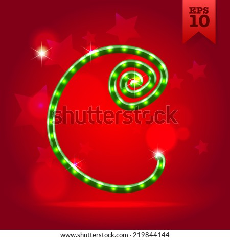 Electric modern green garland christmas new year decorative font capital letter C - stock vector