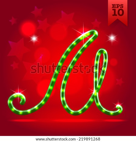 Electric modern green garland christmas new year decorative font capital letter M - stock vector
