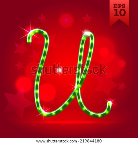 Electric modern green garland christmas new year decorative font capital letter U - stock vector