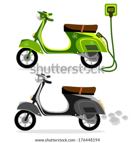 Electric moped  and  a scooter motorcycle on a white background, vector - stock vector