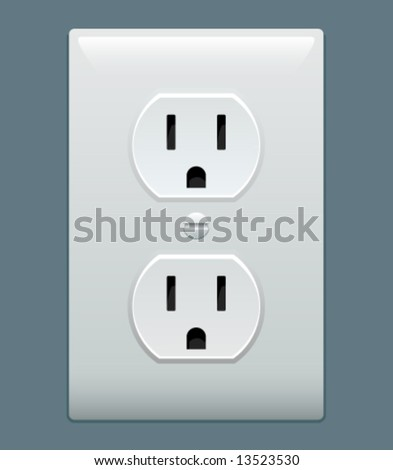Electric outlet illustration on blue gray background - stock vector