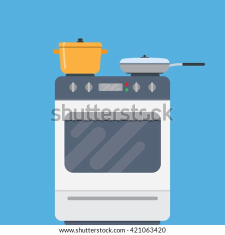 Electric oven and saucepans. Kitchen appliances, kitchen interior, utensils concepts. Front view. Modern flat design vector illustration isolated on blue background - stock vector