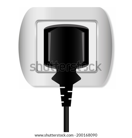 electric plug and outlet vector - stock vector