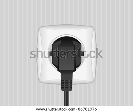 Electric plug and socket on a wall. Vector illustration. - stock vector
