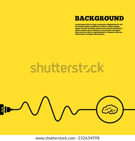 Electric plug background. Brain sign icon. Human intelligent smart mind. Yellow poster with black sign and cord. Vector - stock vector