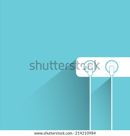 electric plug, cable plug on blue background - stock vector