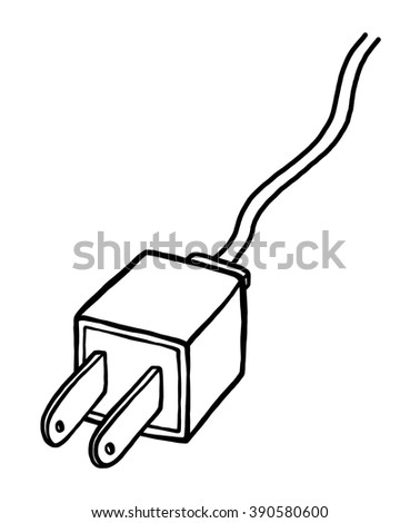 Stock Photo Plugs Drawing On White Background on flat electrical wire