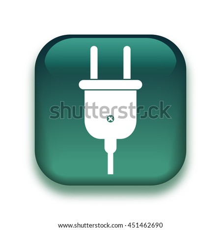 electric plug icon - glossy vector button - stock vector