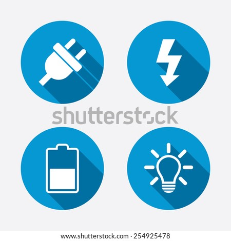 Electric plug icon. Light lamp and battery half symbols. Low electricity and idea signs. Circle concept web buttons. Vector - stock vector