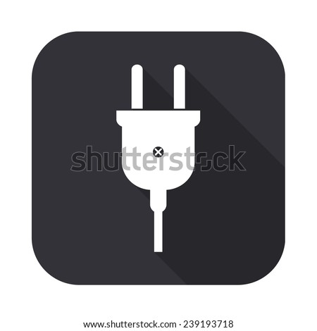 electric plug icon - vector illustration with long shadow isolated on gray