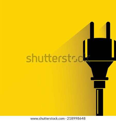 electric plug on yellow background, flat and shadow theme design - stock vector