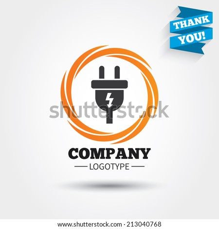Electric plug sign icon. Power energy symbol. Lightning sign. Business abstract circle logo. Logotype with Thank you ribbon. Vector - stock vector