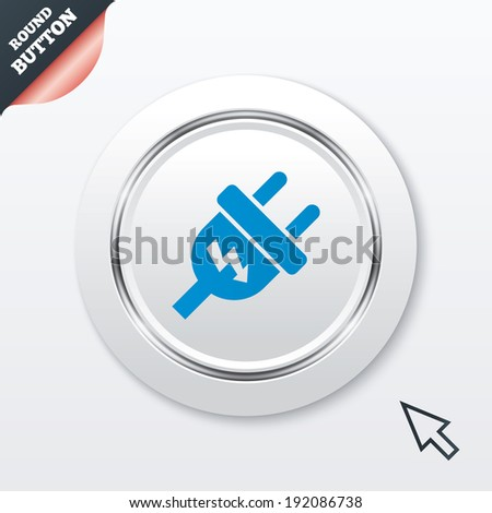 Electric plug sign icon. Power energy symbol. Lightning sign. White button with metallic line. Modern UI website button with mouse cursor pointer. Vector - stock vector
