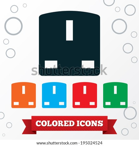 Electric plug sign. Power energy symbol. Round circles symbols. Vector