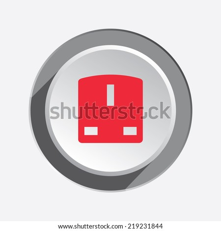 Electric plug, socket base icon. British standard. Power energy symbol. Red flat sign on 3d button with shadow. Vector - stock vector