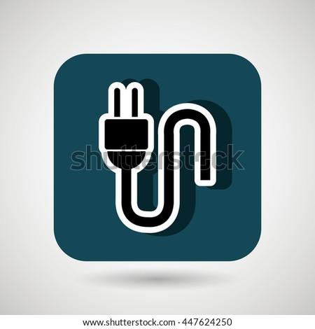 electric plug square button  isolated icon design, vector illustration  graphic  - stock vector