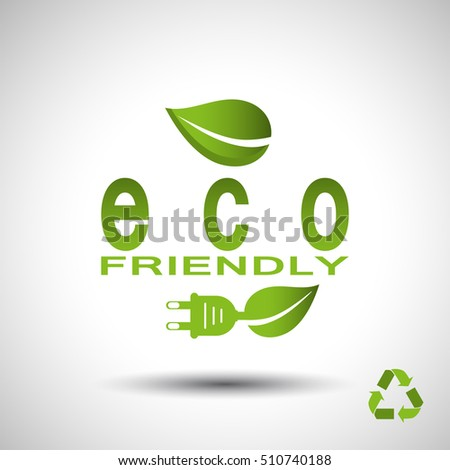 Electric plug with leaf vector poster with recycling sign on the gray gradient background.