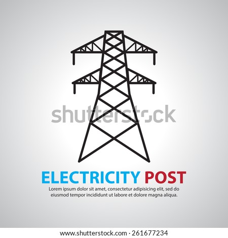 electric post,high voltage set - stock vector