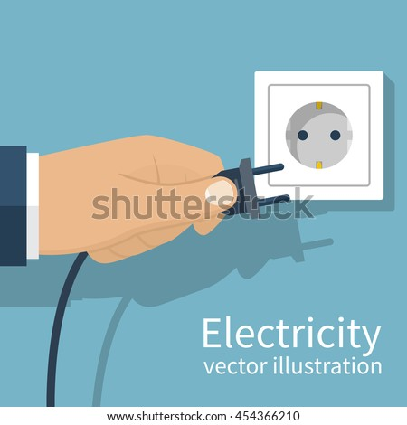 Electric power plug holding in hand. Unplug, plugged in wall socket. Vector illustration flat design. Connecting power plug. - stock vector