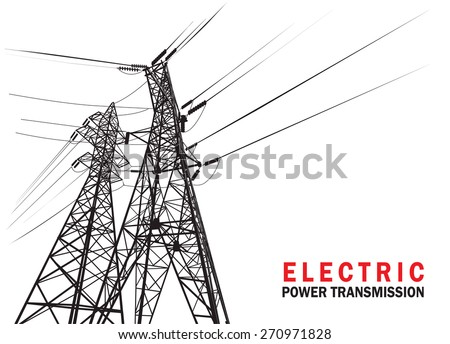 Electric power transmission. Vector silhouette. - stock vector