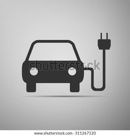 Electric powered car icon, electric powered car icon eps, electric powered car icon vector, electric powered car web icon, electric powered car flat icon, electric powered car icon object - stock vector