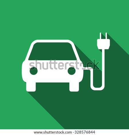Electric powered car icon, electric powered car icon eps, electric powered car icon vector, electric powered car with long shadow, electric powered car flat icon, electric powered car icon art - stock vector