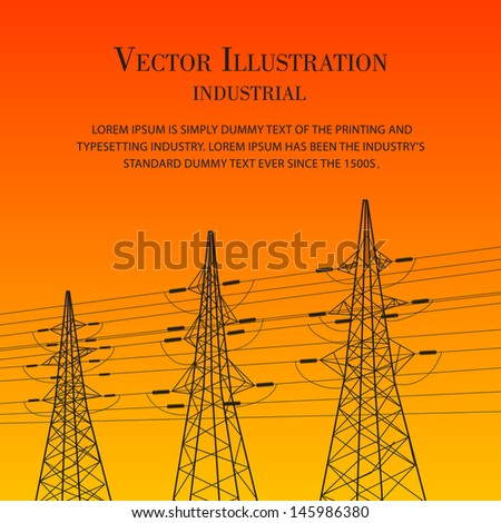 Electric pylon at sunset. Vector illustration. - stock vector