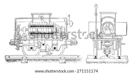 Electric Railway, Fig No- 166 Longitudinal section of the mobile machine, Fig No- 167 End view of the movable machine, vintage engraved illustration. Industrial encyclopedia E.-O. Lami - 1875.