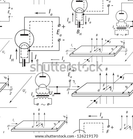 Electric scheme seamless pattern. Vector illustration, contains transparencies. - stock vector