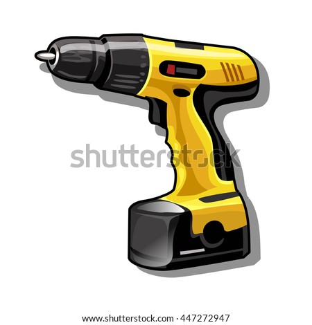 Electric screwdriver isolated on a white background. Vector illustration.