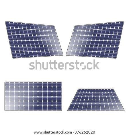 Electric solar panel. Renewable, regenerative, green energy concept. Vector illustration. - stock vector