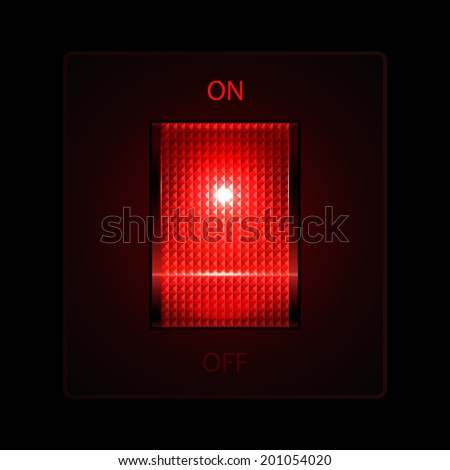 Electric switch On/Off buttons (red color). Vector illustration. - stock vector