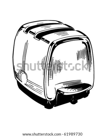toaster clipart black and white. electric toaster - retro clipart black and white