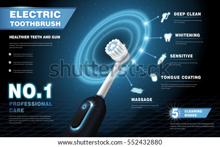 Electric toothbrush ads, vibrant brush with glowing ring effect shows different cleaning modes over dark blue background in 3d illustration, high tech products