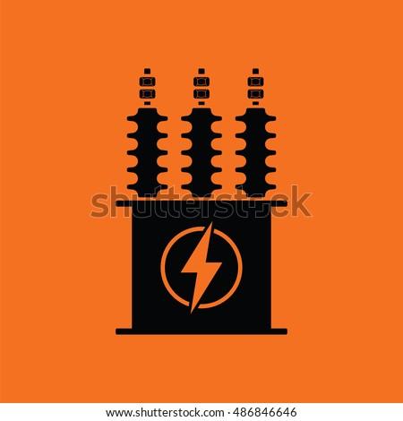 Electric Transformer Icon Orange Background Black Stock-Vektorgrafik ...