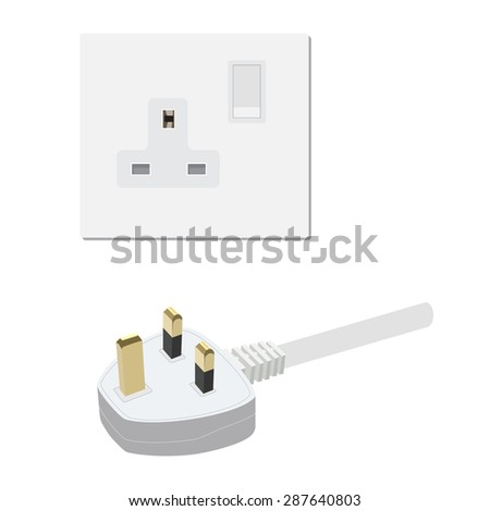 Electric Uk Socket Plug Vector Illustration Stock Vector 287640803