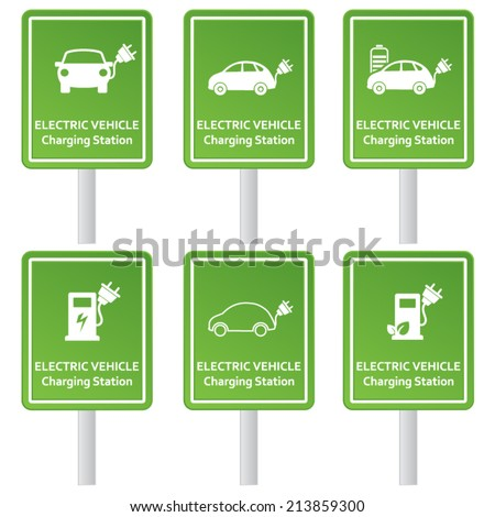 Electric vehicle charging station signs - stock vector