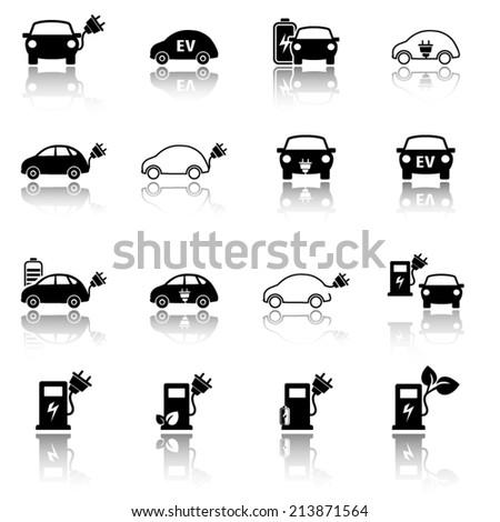 Electric vehicle icon set - stock vector