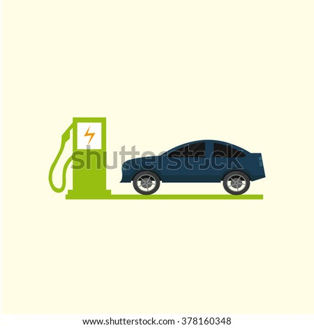 Electric Vehicle icons over color background - stock vector