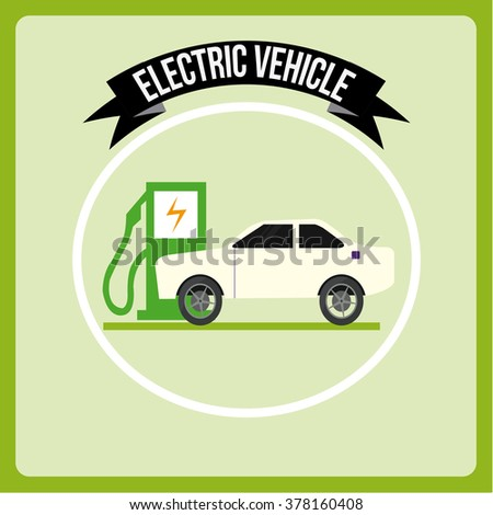 Electric Vehicle icons over color background