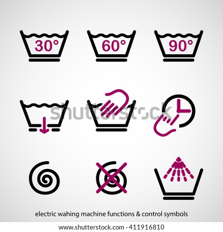 Electric washing machine functions & control symbols - stock vector