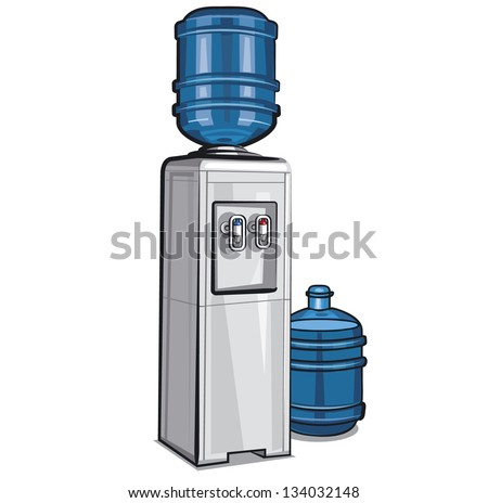 Electric water cooler with bottle - stock vector