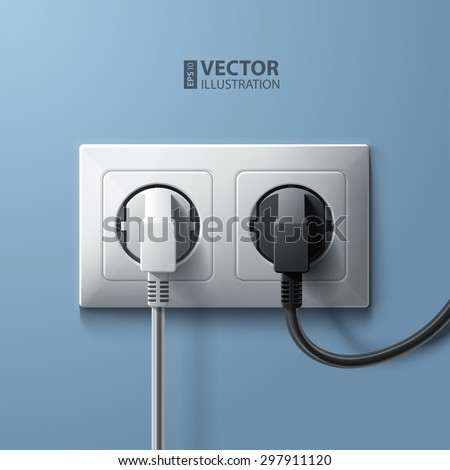 Electric white and black plugs and white plastic socket on blue wall background. RGB EPS 10 vector illustration - stock vector