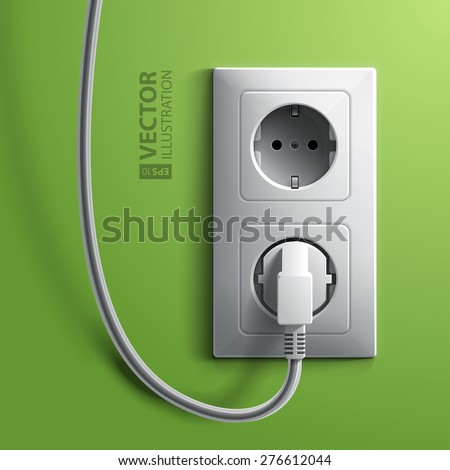 Electric white plug and socket on green wall background. RGB EPS 10 vector illustration - stock vector
