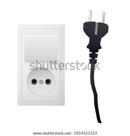 Electric White Socket Plug Switch Electricity Stock Vector ...