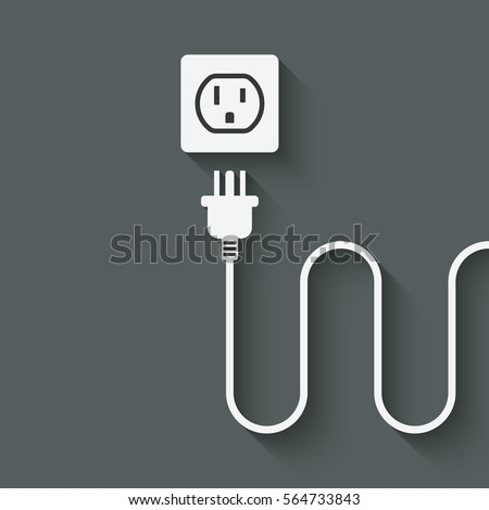 Electric Wire Plug Near Outlet Vector Stock Photo (Photo, Vector ...