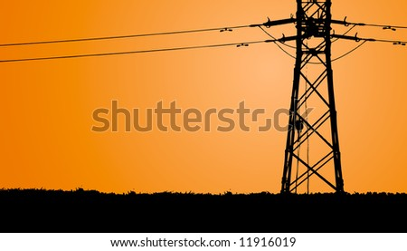 Electric wires in the evening (background, vector) - stock vector