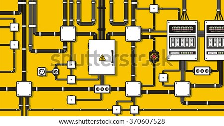 Electric wiring background - stock vector
